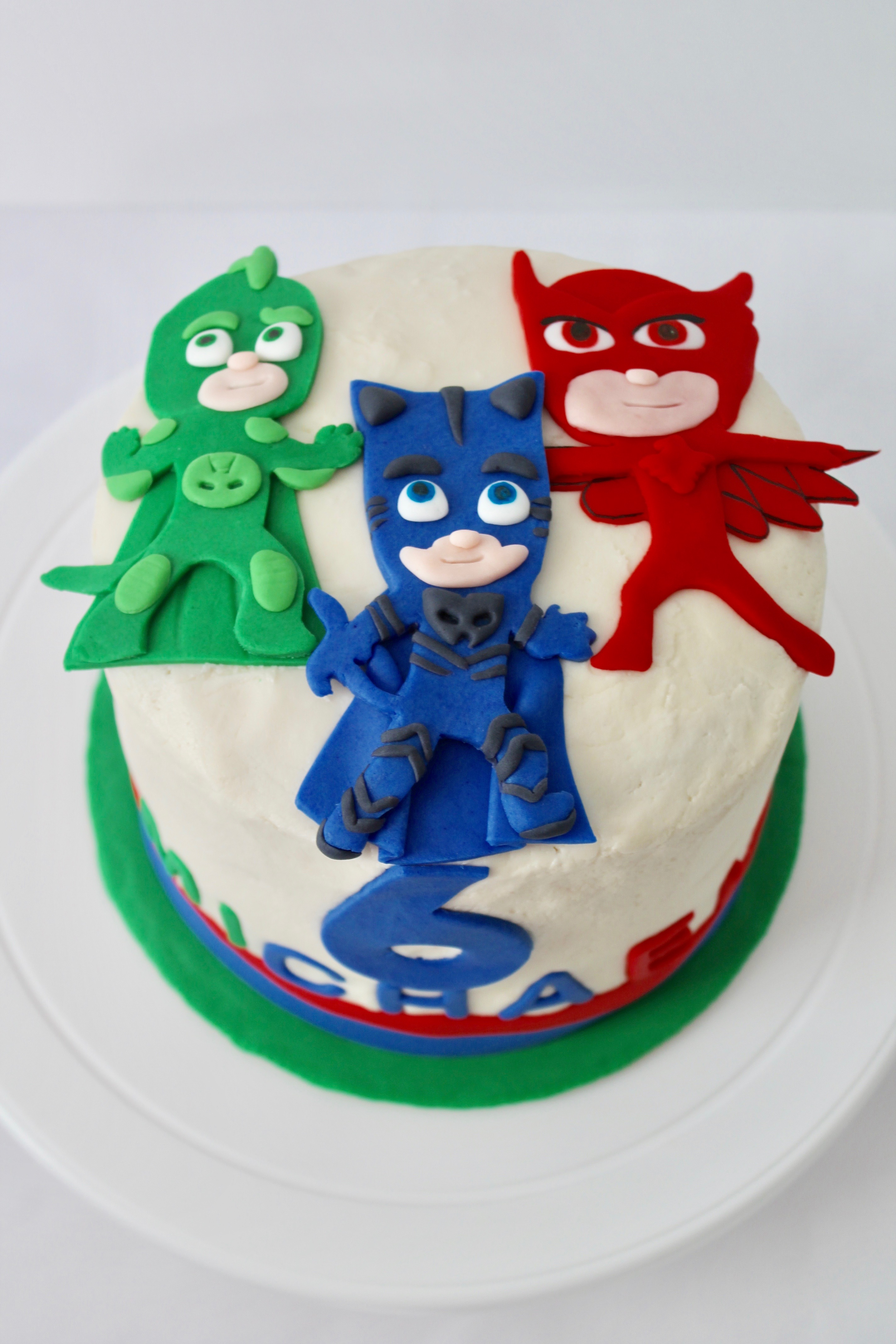 PJ Masks Here To Celebrate His 6th Birthday Cake Is A 6 Round Vanilla With Buttercream Filling And 24 Cupcakes Chocolate